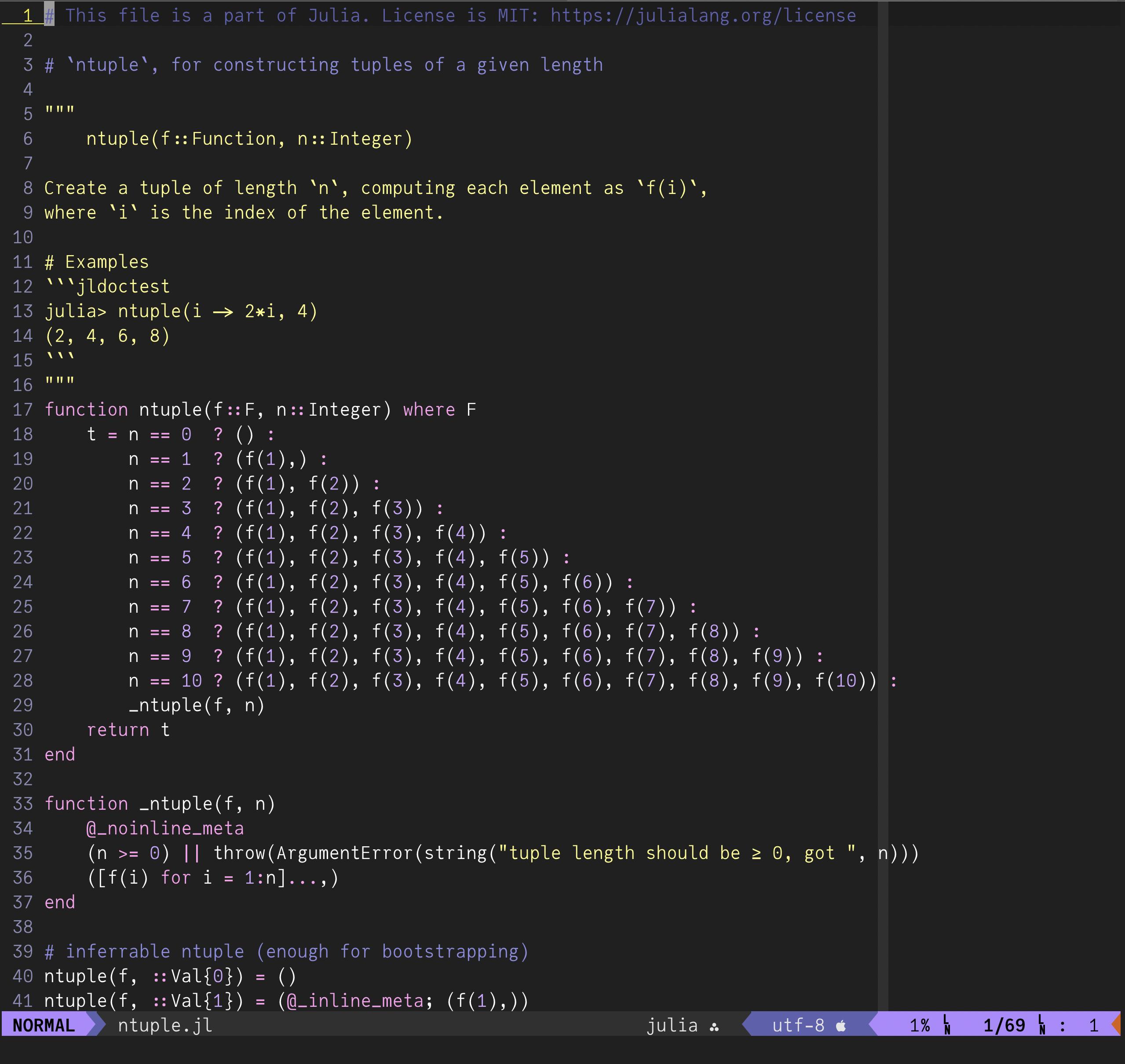 screenshot of VIM editor